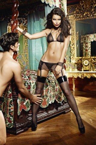 Игровой костюм молния любви: топ, мини-юбка и кружевные манжеты и воротничок с цепью