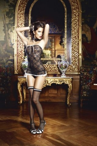 Игровой костюм сексуальная служанка: мини-платье, манжеты и воротничок