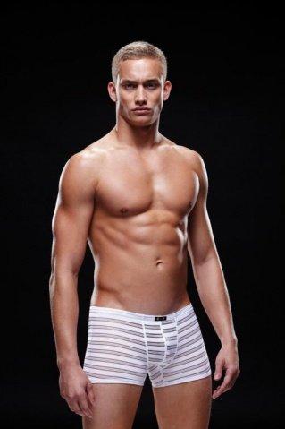 Боксеры, трусы мужские, белая полоска