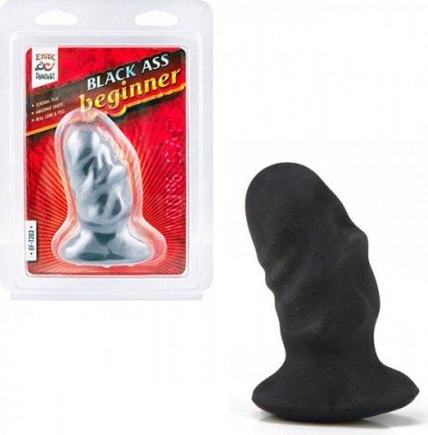 Мягкая черная анальная пробка Ass Beginner (вторая кожа), фото 3