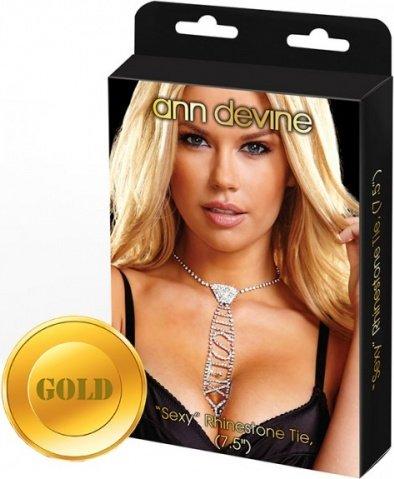 Галстук из кристаллов sexy золотой
