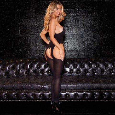 Черный кэтсьюит с корсетной шнуровкой, фото 3