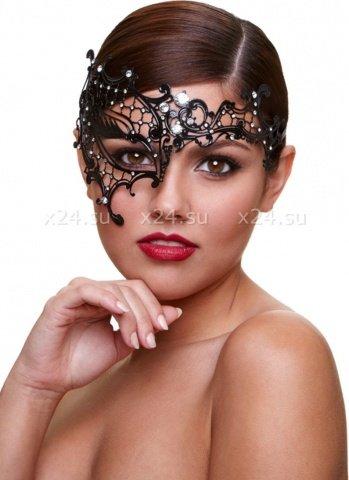 Ассиметричная черная маска со стразами Masq Seductress