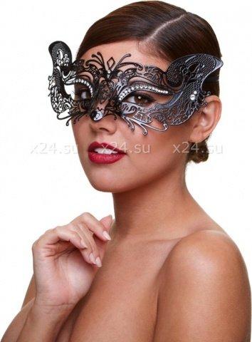 Черная маскарадная маска со стразами Masq Courtesan