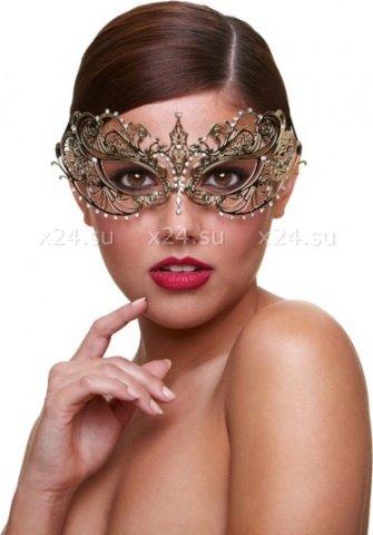 Золотая карнавальная маска со стразами Masq Harlot