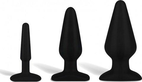 Набор черных анальных плагов из ультрабархатистого силикона 4, 5,5 и 6, фото 2