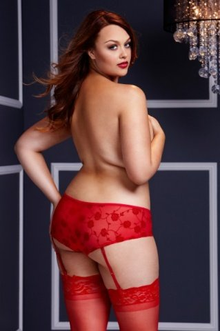 Трусы-пояс женские красные-Queen Size, фото 2