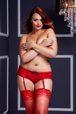 Трусы-пояс женские красные-Queen Size