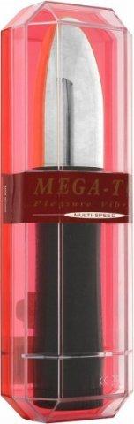 Вибратор Mega Top Silver, с металлической серебряной головкой, черный, 35 х175 мм 18 см, фото 3