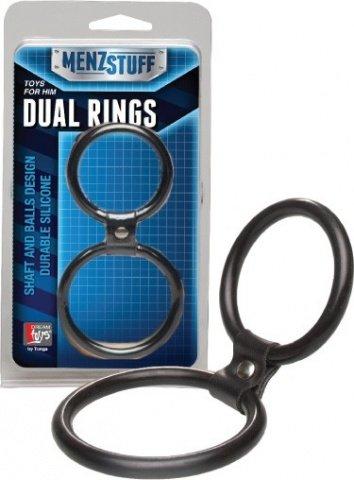Кольцо двойное (на пенис и мошонку) черное Dual Rings Black, фото 3