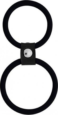 Кольцо двойное (на пенис и мошонку) черное Dual Rings Black, фото 4