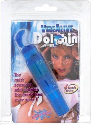 Мини-вибратор Дельфин, голубой, П-112, фото 2