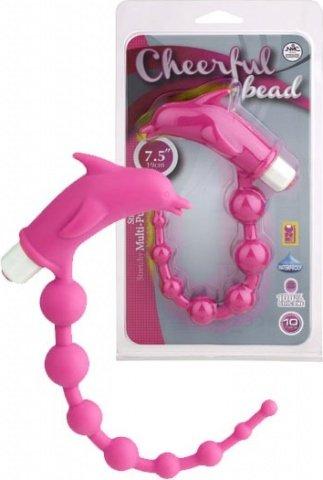 Анальный вибростимулятор розовый 19 см Cheerful Bead Dolphin, фото 2
