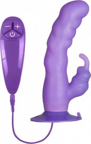 Вибратор гибкий на присоске 18 см. фиолетовый