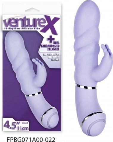 Вибратор с клиторальным стимулятором 11,4 см, 10 режимов вибрации, фиолетовый