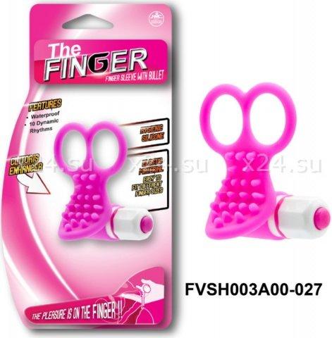 Вибронасадка на пальцы, 10 режимов вибрации, розовая