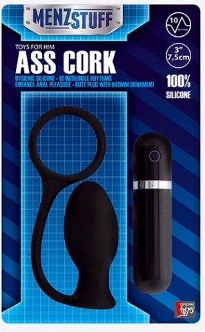 Вибровтулка анальная 7,5 см черная menzstuff ass cork small black, фото 2