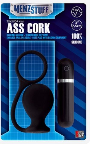 Вибровтулка анальная 7,5 см черная menzstuff ass cork wide black, фото 2