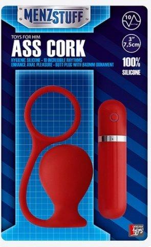 Вибровтулка анальная 7,5 см красная menzstuff ass cork wide red, фото 2