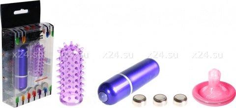 Минивибратор с насадкой 5 см фиолетовый Powerful Mini Massager w. Sleeve - Purpl