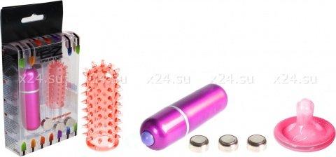 Минивибратор с насадкой 5 см розовый Powerful Mini Massager w. Sleeve