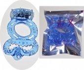 Эрекционное кольцо с вибратором с подхватыванием мошонки цвет голубой - Секс шоп Мир Оргазма
