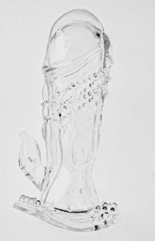 Насадка на фаллос с шипами и коготком для стимуляции клитора (цвет-голубой)