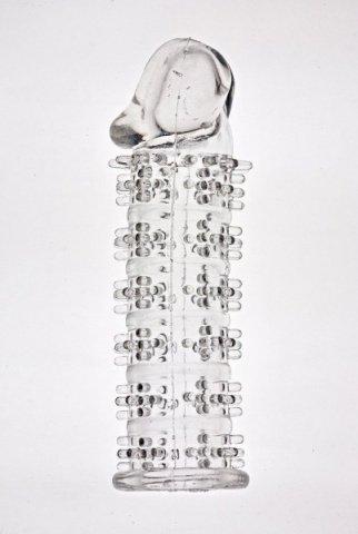 Насадка на фалос с шипами, с закрытой головкой(прозрачный)