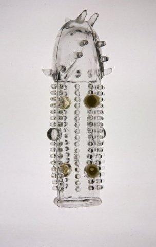 Насадка на фалос с закрытой головкой с усиками, шипами и бусинками (прозрачный)