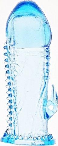 Насадка на фалос с шипами и коготком для стимуляции клитора (голубой)