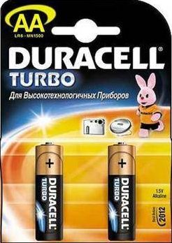Пальчиковые батарейки типа АА Duracell LR6 Turbo 2 шт