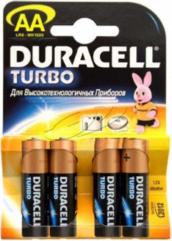 Пальчиковые батарейки типа АА Duracell LR6 Turbo 4 шт