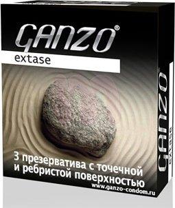 Презервативы ganzo extase точечные, ребристые, анатомической формы -1 блок (24 уп), фото 3