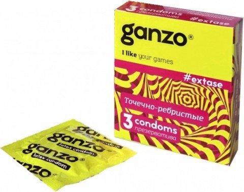 Презервативы ganzo extase точечные, ребристые, анатомической формы -1 блок (24 уп), фото 5
