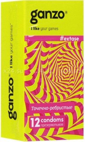 Презервативы Ganzo Extase 12 Точечные и ребристые, анатомической формы ШТ