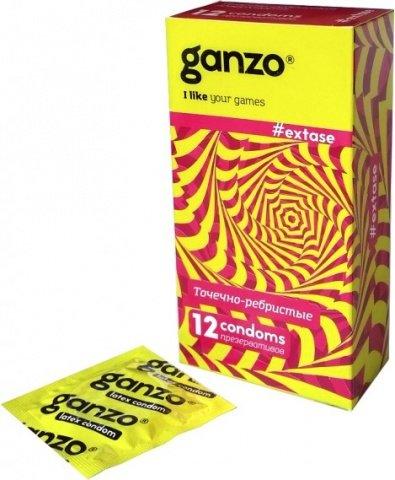 Презервативы Ganzo Extase 12 Точечные и ребристые, анатомической формы ШТ, фото 4