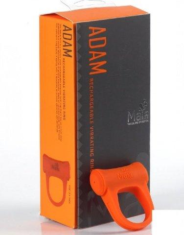 Виброкольцо Adam, с подзарядкой, силикон, оранжевое, фото 2