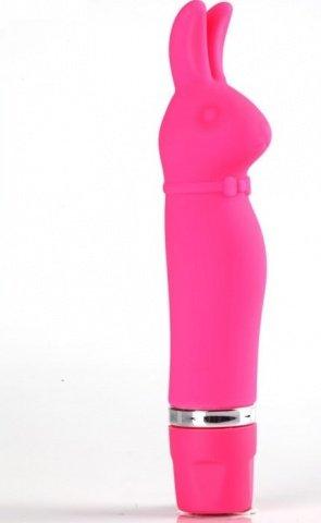 Мини-вибратор Bunny, силикон, розовый, 30 х115 мм