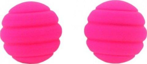 Два шарика Twistty, металлические с силиконовым покрытием, розовые, 28 мм