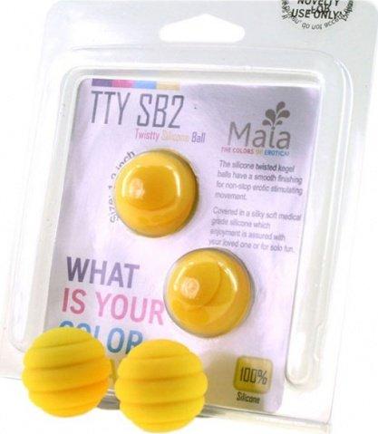 Два шарика Twistty, металлические с силиконовым покрытием, желтые, 28 мм, фото 2