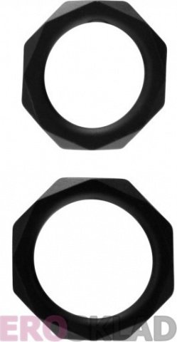 Эрекционные кольца Rock Rings The Cocktagon ll 2 Pack Black, фото 2