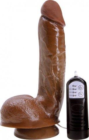 Кофейный семифункциональный вибратор natural cock 20 см, фото 2