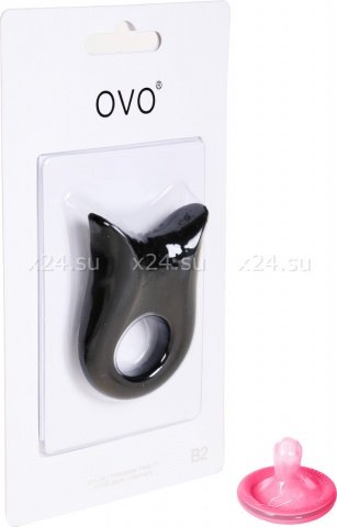 Черное эрекционное кольцо на пенис OVO с вибрацией, фото 3