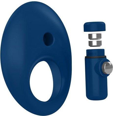 Синее эрекционное кольцо на пенис OVO с вибрацией, фото 3