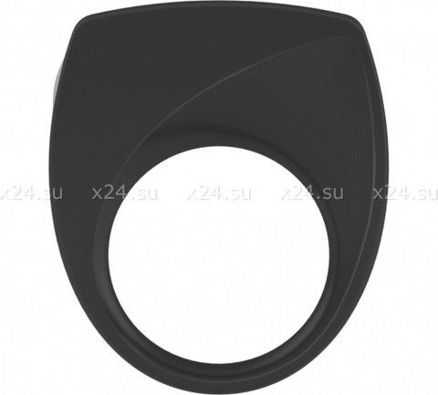 Черное эрекционное кольцо на пенис OVO с вибрацией, фото 4