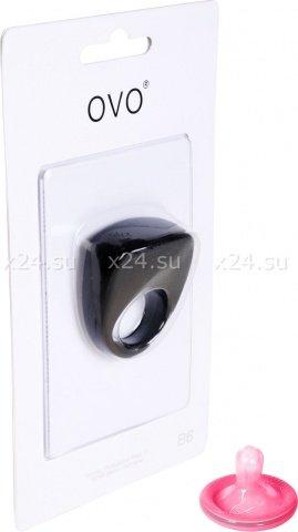 Черное эрекционное кольцо на пенис OVO с вибрацией, фото 5