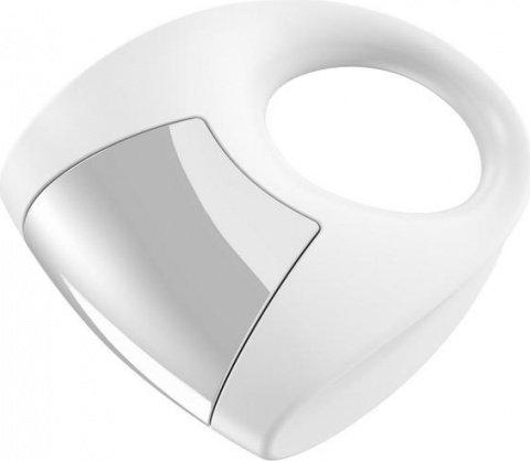 Эрекционное белое кольцо на пенис OVO с вибрацией, фото 2