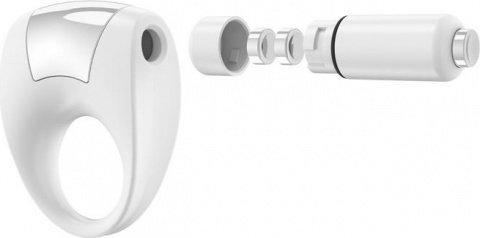 Эрекционное белое кольцо на пенис OVO с вибрацией, фото 4
