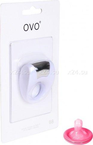 Эрекционное белое кольцо на пенис OVO с вибрацией, фото 3