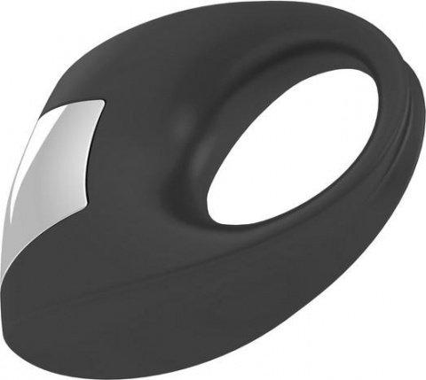 Эрекционное черное кольцо на пенис OVO с вибрацией, фото 2